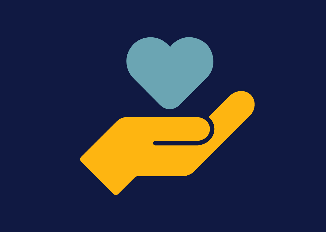 yellow hand and teal heart on navy